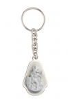 Key ring with white perloid <br> badge  Christopher