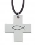 "1007 - Stainless Steel Cross pendant ""Fish"" with leather strap"
