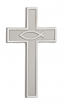1063 - Cross for the wall, metal casted, silver coloured