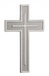 1064 - Cross for the wall, metal casted, silver coloured