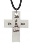"1090- Stainless Steel Cross pendant ""Light House"" with leather strap"