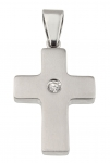 1200 - Stainless Steel Cross pendant, with gemstone