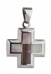 1201 - Stainless Steel Cross pendant, pearl inlay