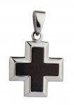 1202 - Stainless Steel Cross pendant, inlay: black imitation leather