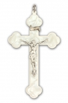 Cross of the dying with white perloid inlay and nickel plated Corpus