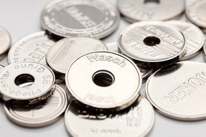 Coins for automatic car washes, pharmacies, vending machines, trolley coins...